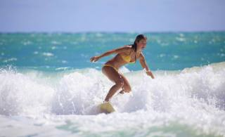 girl, surfing, sea, wave