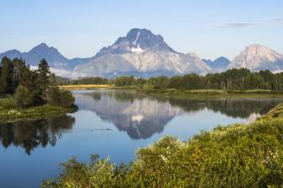 příroda, krajina, hory, KEŘE, jezero, Lesy, mraky, odraz