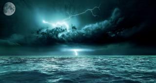 the sky, art, the moon, lightning, sea
