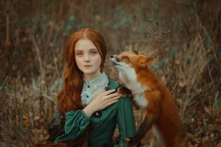 autumn, girl, red, long hair, Fox, photographer, анастасия добровольская
