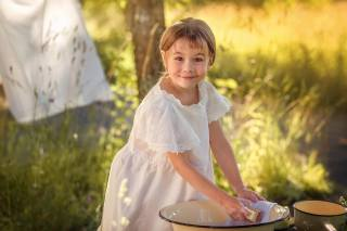 Anna Sapegina, child, girl, smile, nature, summer, таз, bucket, wash