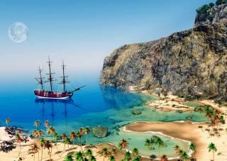 plachetnice, oceán, břeh