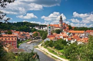 дерева, річка, панорама, будівлі, Чехія