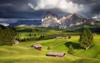 дерева, краєвид, гори, хмари, природа, вдома, Італія, Ліси, луки, доломіти, Сергей Заливин