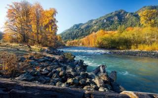 осінь, руда, дерева, каміння, річка, природа