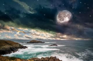 sea, the sky, the moon
