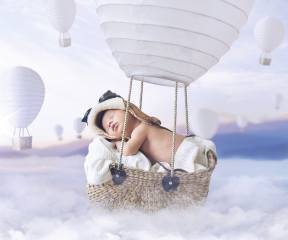 child, baby, baby, basket, balloon, flashlight, pilot, sleep