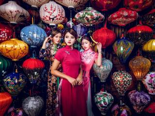 Стиль, девушки, трио, модели, фонарики, азиатки
