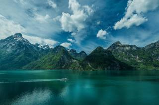 Switzerland, mountains, the lake, the sky, nature