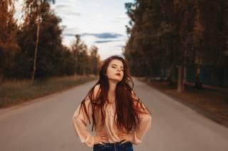 девушка, длинные волосы, фотограф, Ксения Шумагина, трасса