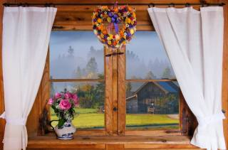 window, curtains, pitcher, flowers, bouquet, rose, wreath, the village