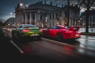 Mercedes Benz, Porsche, the city, Supercars