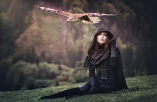 орел, полёт, девушка