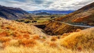 гори, хмари, суха трава, природа