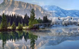 nature, landscape, mountains, frost, the lake, the bridge