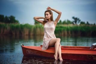 літо, озеро, лотка, дівчина, фотограф, игорь халявка