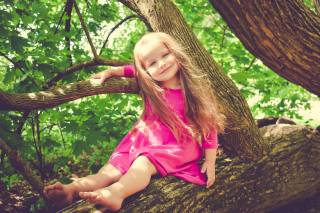 child, girl, baby, dress, nature, summer, tree, foliage