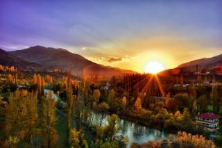 Туреччина, природа, краєвид, гори, осінь, дерева, річка, Корух, вдома, захід, сонце, промені