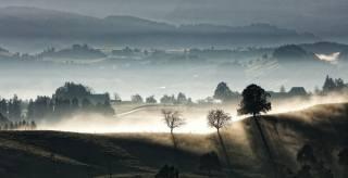 Швейцарія, природа, краєвид, пагорби, село, ранок, світанок, туман