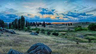 Austrálie, stromy, tráva, kameny, mraky, soumrak