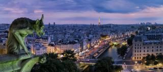 Париж, город, дома, река, здания, башня, скульптура, вечер, освещение