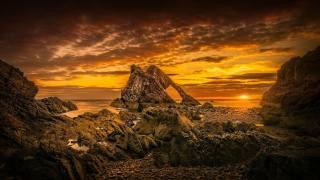 Шотландія, Пляж.облака.море, захід