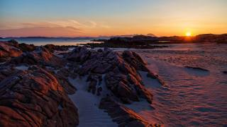 nature, snow, горы.пейзаж, sunset, the beach