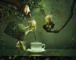 branches, men, leaves, ivy, the tea party, hand, Cup, kettle, graphics, 3d