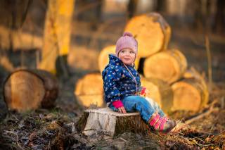 child, baby, nature, stump, stump, logs