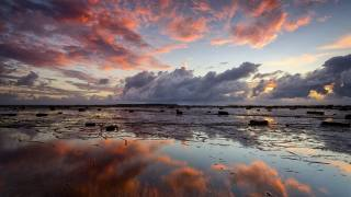 небо, облака, побережье, рассвет, отражение, Glenn-Crouch