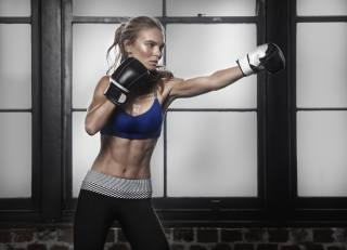 girl, gloves, training