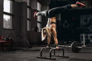 девушка, стойка, спорт