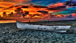 the sky, clouds, sunset, sea, the beach, boat
