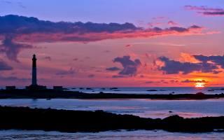 маяк, море, небо, закат