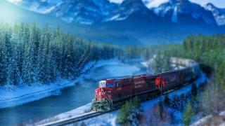 J, train, mountains, river, the locomotive, composition
