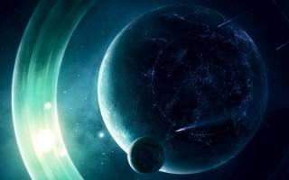 planet, space, световые кольца