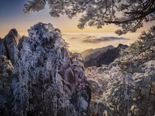 winter, clouds, snow, trees, landscape, mountains, branches, nature, fog, rock, China, pine