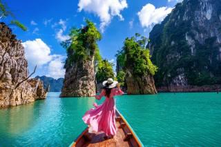 sea, girl, landscape, nature, rock, boat, Thailand, Bay