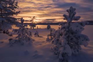 Норвегия, зима, небо, облака