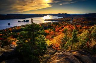 природа, краєвид, річка, русло, берега, каміння, Ліси, осінь, захід