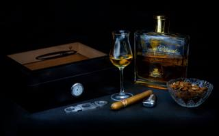nuts, rum, lighter, box, glass, bottle, cigar