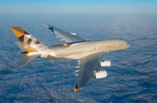 the plane, Airbus, A380-800, Etihad Airways, flight, aviation