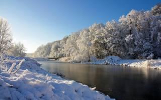 зима, мост, речка, снег, красивый, пейзаж