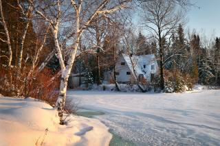 winter, forest, snow, trees, landscape, nature, the lake, the house, cottage, ice, Canada, the shore, Quebec