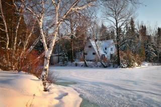 зима, лес, снег, деревья, пейзаж, природа, озеро, дом, коттедж, лед, канада, берега, квебек