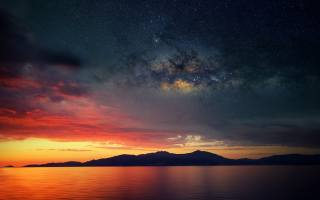 Ісландія, небо, ніч, зірки, затока, природа