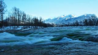 river, mountains, trees, snow, winter
