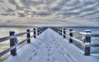 снег, мост, пирс, море, зима