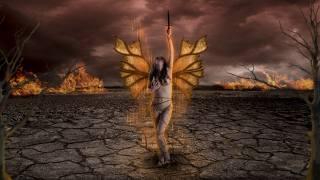 девушка, крылья, кинжал, огонь, фэнтези