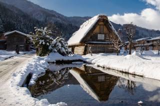 nature, landscape, winter, water, clouds, snow, trees, mountains, the house, reflection, village, home, Japan, the village, village, Сиракава